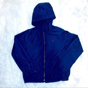 Polo By Ralph Lauren Blue Windbreaker Hooded Jacket Boys Size Small